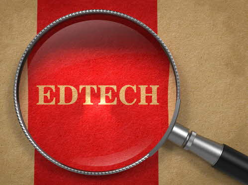 "magnifying glass ovet the text ""edtech"""