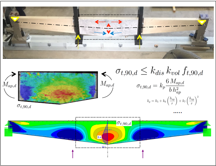The picture shows an experimental test setup together with test evaluation and numerical modeling of a timber beam.