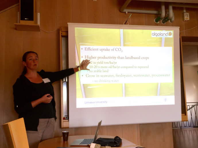Elin lectures students at Cementa Degerhamn about the goals of ALGOLAND, 2016