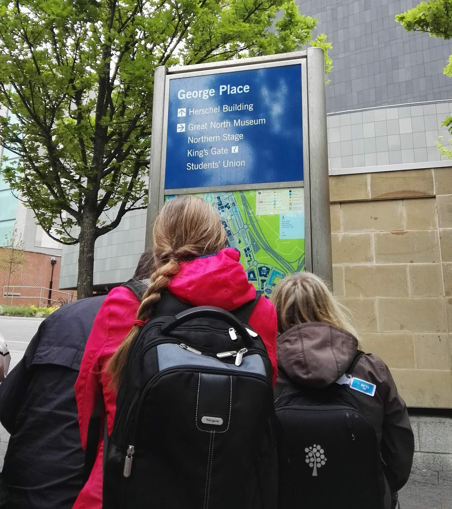 Arriving at Newcastle University.