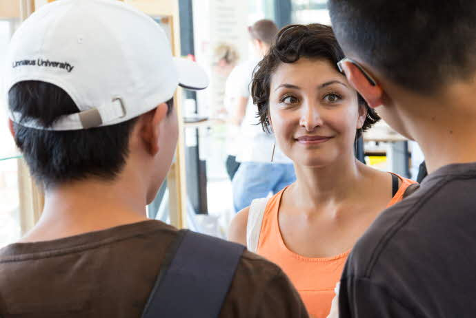 International students in conversation