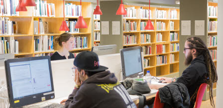 Students studying at the University Library in Växjö