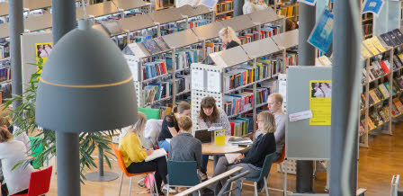 Students at the university library in Kalmar