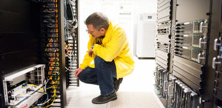 IT technician in server room