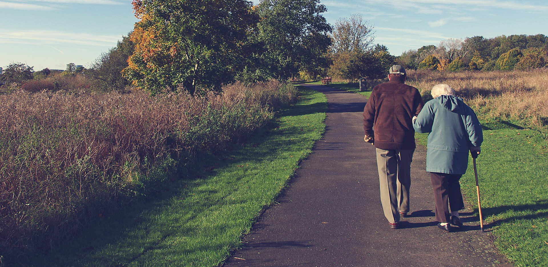 Older couple taking a walk
