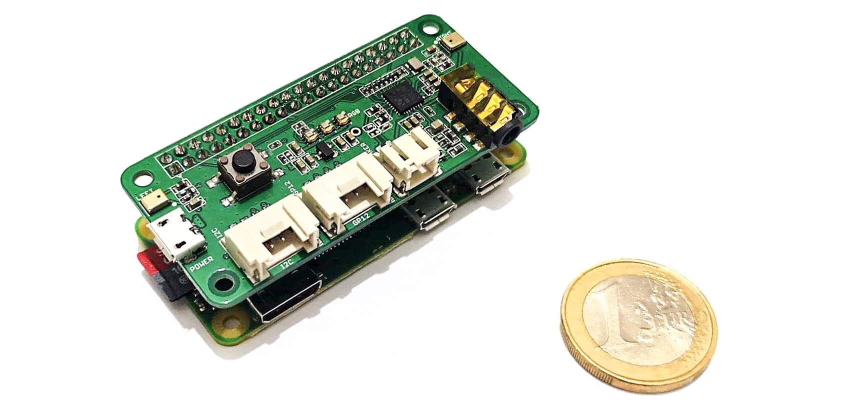 The Raspberry Pi unit and a 1 Euro coin